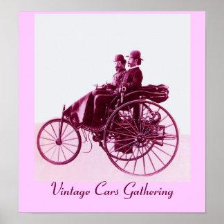 Vintage Cars Gathering , purple pink white Poster
