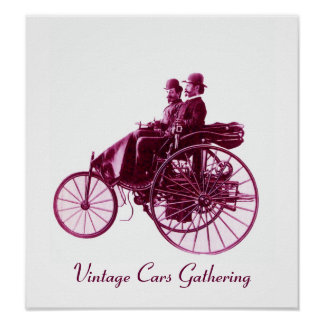 Vintage Cars Gathering , purple violet white Poster