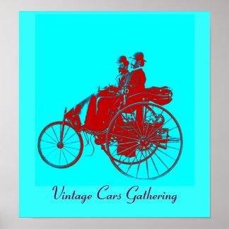 Vintage Cars Gathering , red blue urquase Poster