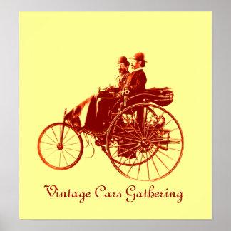 Vintage Cars Gathering , yellow brown Poster