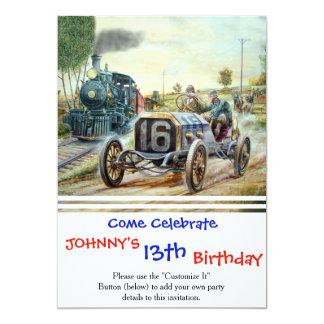 "Vintage Cars Racing Scene,train painting 5"" X 7"" Invitation Card"