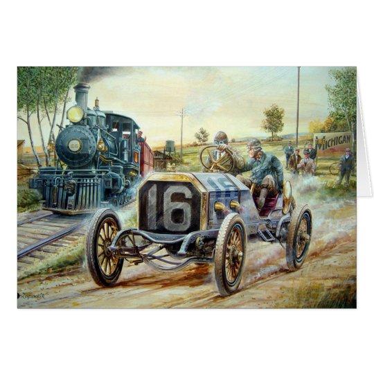 Vintage Cars Racing Scene,train painting Card