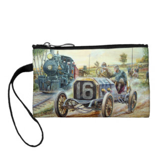 Vintage Cars Racing Scene,train painting Coin Wallet