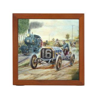 Vintage Cars Racing Scene,train painting Desk Organizers