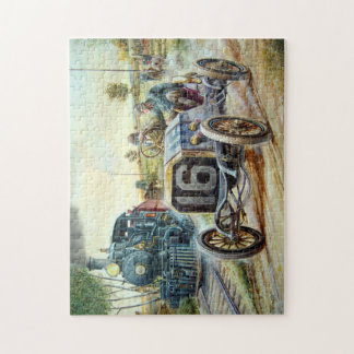 Vintage Cars Racing Scene,train painting Puzzle