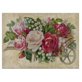 Vintage Cart of Roses Cutting Board