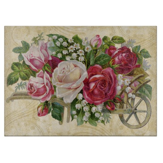 Vintage Cart of Roses Cutting Boards