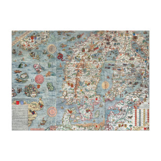 Vintage Carta Marina Scandinavia Map Canvas Print