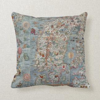 Vintage Carta Marina Scandinavia Map Throw Pillow