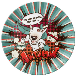 "Vintage Cartoon Bull Terrier deco plate ""Awesome"""
