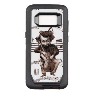 Vintage Cartoon Cellist with Monogram in Brown OtterBox Defender Samsung Galaxy S8 Case
