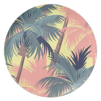 Vintage Cartoon Palm Trees Dinner Plates