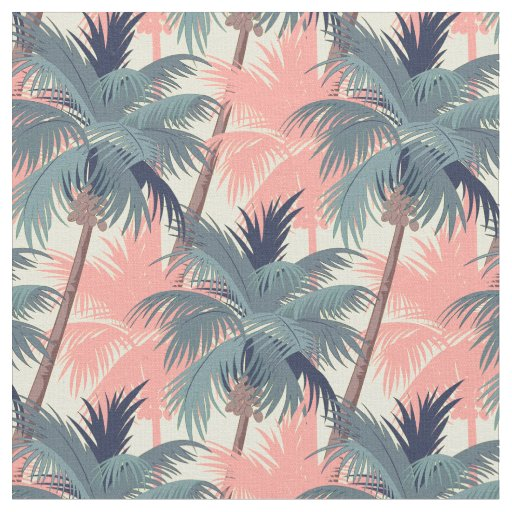 Vintage Cartoon Palm Trees Fabric