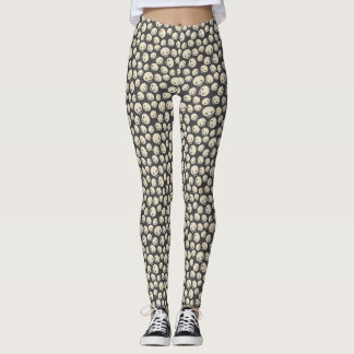 Vintage Cartoon Skull Halloween Pattern Leggings