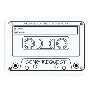Vintage Cassette Tape Wedding Song Request Card
