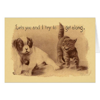 Vintage Cat And Dog Try To Get Along Card