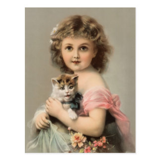 Vintage cat and girl postcard