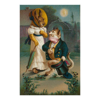 Vintage Cat And Rabbit Marriage Proposal Poster