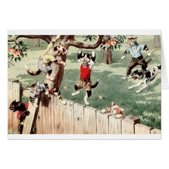 Vintage Cat Apple Thieves Note Card