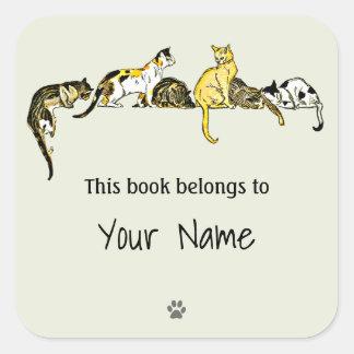 Vintage Cat Art Bookplate Sticker
