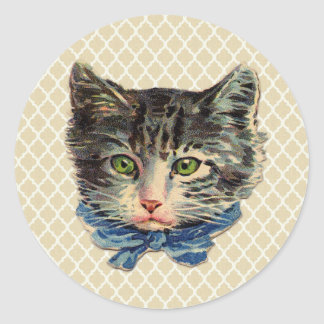 Vintage Cat Art Round Sticker