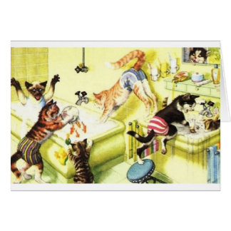 Vintage Cat Bath Time Chaos Note Card
