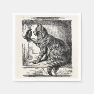 Vintage Cat Bell Animal Illustration Template Disposable Napkins