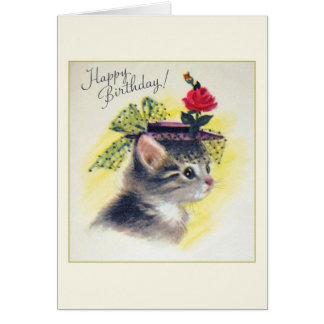 Vintage Cat Birthday Greeting Card