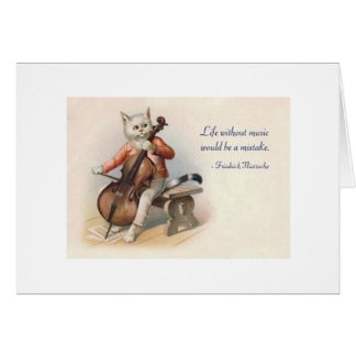 Vintage Cat Cellist Nietzsche Orchestra Note Card