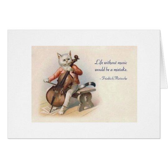 Vintage Cat Cellist Nietzsche Orchestra Note Card
