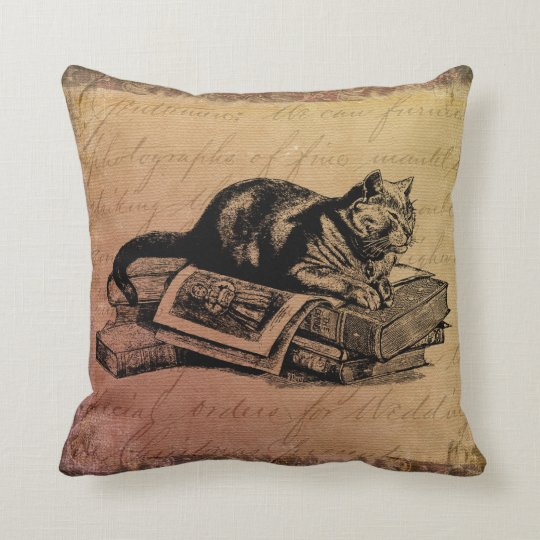 Vintage Cat Collage Cat & Books Grunge Background Throw Pillow