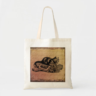 Vintage Cat Collage Cat & Books Grunge Background Tote Bag