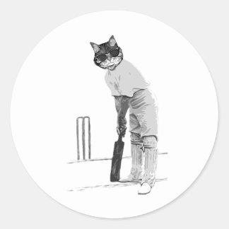 vintage cat cricketer classic round sticker