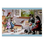 Vintage Cat Family Birthday Card