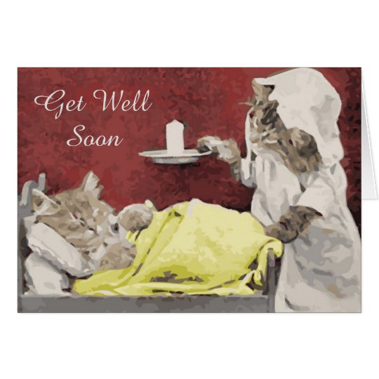 Vintage Cat Get Well Soon Greeting Card