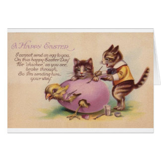 Vintage Cat Happy Easter Greeting Card