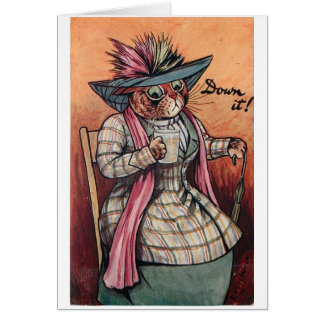 Vintage Cat Having a Drink, Card