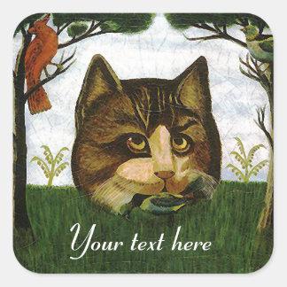 Vintage Cat Head (Cheshire Cat) Square Sticker