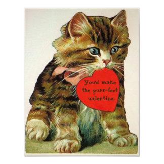 Vintage cat holding a valentine message card