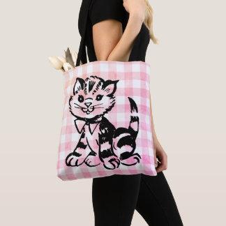 Vintage cat on faded pink gingham tote bag