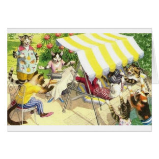 Vintage Cat Pool Party Chaos Note Card