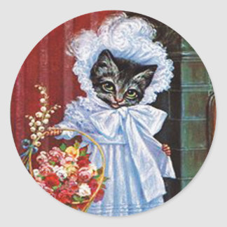 Vintage Cat Sticker, Arthur Thiele Classic Round Sticker