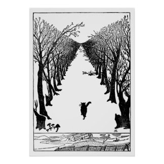 Vintage Cat That Walks Alone Art Poster