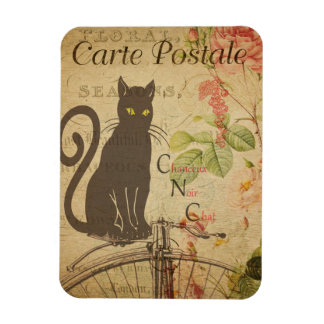 Vintage Cat Theme | Carte Postale | Black Cat Magnet