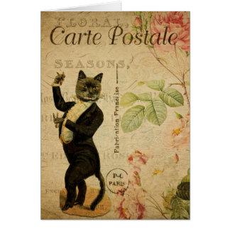 Vintage Cat Theme | Carte Postale | Cat Dancing Card