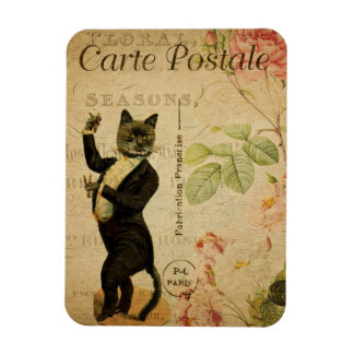 Vintage Cat Theme | Carte Postale | Cat Dancing Magnet