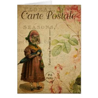 Vintage Cat Theme | Carte Postale | Cat Dressed Card
