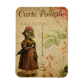 Vintage Cat Theme | Carte Postale | Cat Dressed Magnet