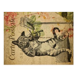 Vintage Cat Theme | Carte Postale | Cat & Fiddle Postcard