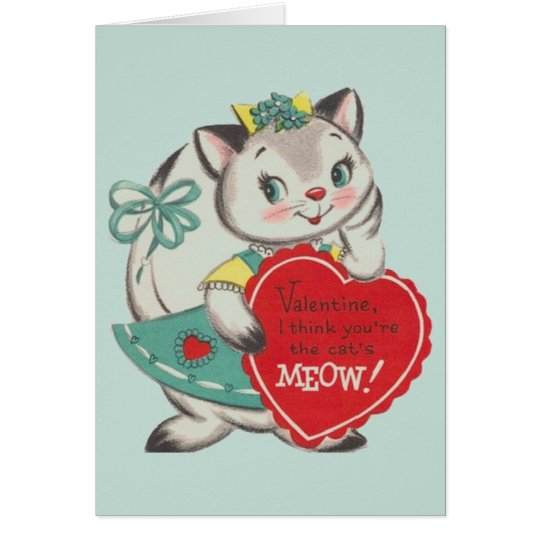 Vintage Cat Valentine's Day Greeting Card